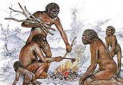 Image: Early hominids make fire