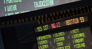 Photo: UN General Assembly vote-tally, detail