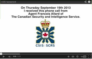 Youtube image of audio conversation between First Nations Clifton Nicholas and un-named CSIS agent.