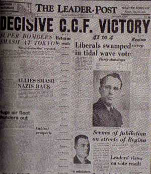 Image: Cover of Regina Leader-Post announcing CCF victory in 1944.