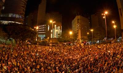 Photo: Protesters gather in Belo Horizonte, Minas Gerais state, Brazil, on June 18 2013.