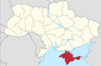 Image: Map of Crimea in relation to Ukraine, via Wikimedia Commons