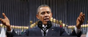 Image: President Barack Obama delivers a speech at Palais des Beaux-Arts (BOZAR) in Brussels. (photo: Reuters).