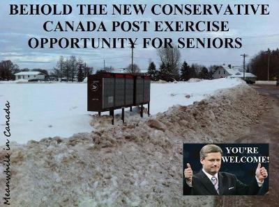 Image: Photo of snow-bound community mailboxes with caption, Behold the new Conservative Canada Post exercise opportunity for seniors. Dear Leader Harper gives thumbs-up in inset.