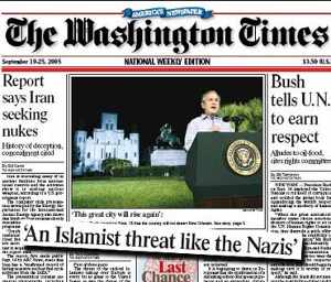 Image: Washington Times front page, September 16-25, 2005.